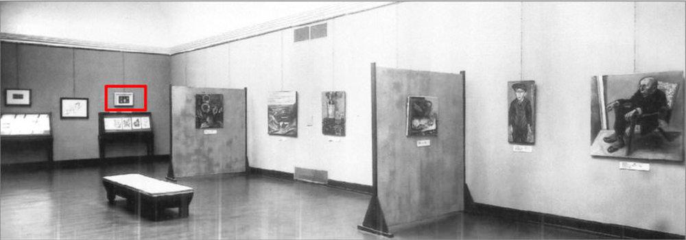 Abb. 6  Blick in die Ausstellung »Kulturbolschewistische Bilder«, Städtische Kunsthalle Mannheim, 1933  © Zentrum Paul Klee, Bildarchiv