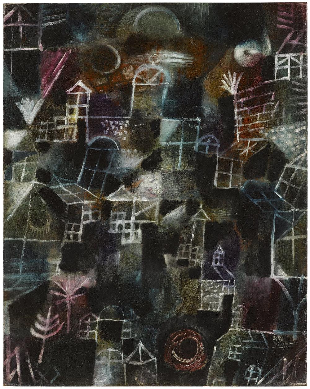 Abb. 25  Paul Klee   Rhythmus der Fenster,  1920, 20,  Öl auf Karton (auf Holz aufgezogen), 51,5 x 41,3 cm, Staatsgalerie Stuttgart  © Staatsgalerie Stuttgart