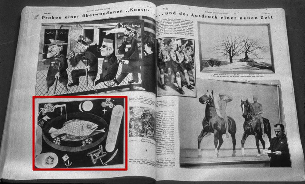 Abb. 9  Bildbericht zur Dresdner Ausstellung »Entartete Kunst« aus der Kölnischen Illustrierten Zeitung vom 7. August 1935