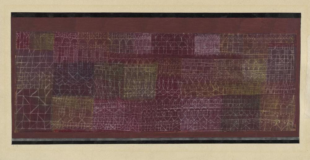 Abb. 4 Paul Klee,  Wandbild , 1924, 128, Aquarell auf Grundierung auf Nesseltuch auf Papier auf Karton, 25,4 x 55 cm, Zentrum Paul Klee, Bern, Schenkung Familie Klee, © Zentrum Paul Klee, Bern, Bildarchiv.