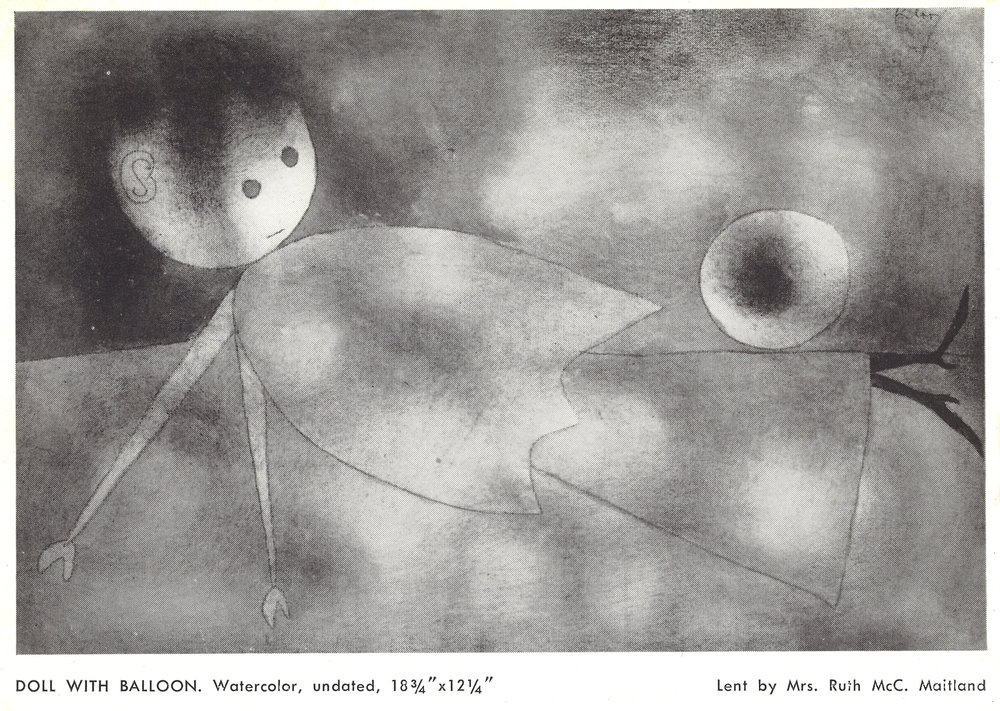 Abb. 1 Paul Klee, Ball und Puppe, 1934, 145 (R5), Aquarell= und Ölfarben Ingres d'arches; Blatt mehrfarbig, Illustration in: Klee. 30 Years of Paintings, Water Colors, Drawings and Lithographs - and in a Klee-like-mood 2000 Years of Coptic, Persian, Chinese, European and Peruvian Textiles. The Modern Institute of Art, Beverly Hills, 3.9.-6.10.1948, Nr. 69. © Zentrum Paul Klee, Bern, Archiv