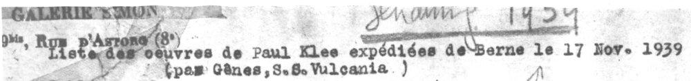Abb.4 Liste des oevres de Paul Klee expédiées de Berne le 17. Nov. 1939, Galerie Simopn, Paris (Ausschnitt), Archiv Bürgi im Zentrum Paul Klee, Bern, Schenkung Familie Bürgi © Zentrum Paul Klee, Bern, Archiv