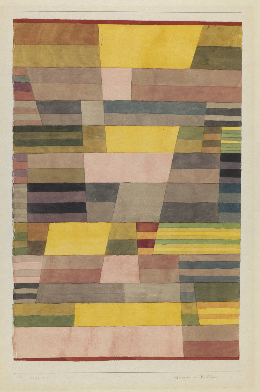 Paul Klee,  Monument im Fruchtland   1929, 41 (N 1), Aquarell und Bleistift auf Papier auf Karton 45,7×30,8 cm, Zentrum Paul Klee, Bern ©Zentrum Paul Klee, Bern.