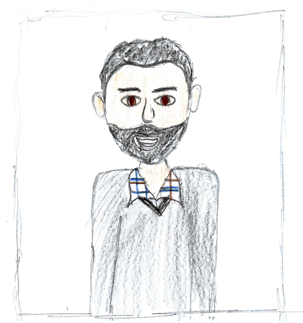 Craig's daughter drew his caricature