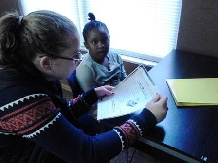 Capital student Mariah Mills and first grader Galeah