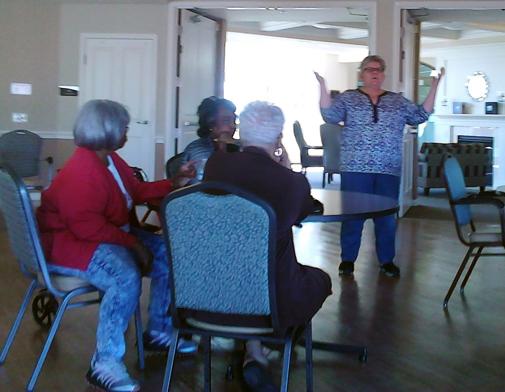 Joyce Johnson of The Breathing Association addresses Elim Manor seniors