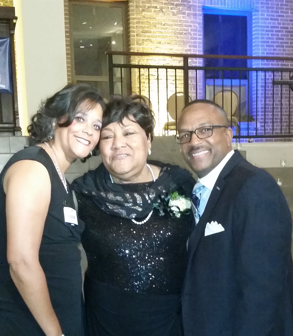 Laverne and husband James sandwich honoree Maude Hill at Homeport's 2015 'Voice & Vision' fund-raiser.