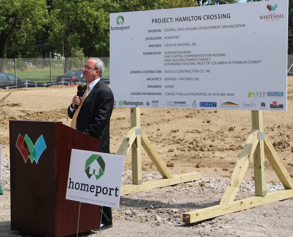 Hal Keller at recent groundbreaking for Homeport's Hamilton Crossing senior community in Whitehall.
