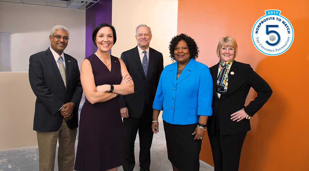 Leaders of Top 5 Non-Profits to Watch, left to right, Seleshi Asfaw, Executive Director, Ethiopian Tewahedo Social Services; Rachel Lustig, President and CEO, Catholic Social Services; Bruce Luecke, President and CEO, Homeport; Denise Robinson, President and CEO, Alvis; and Tammy Wharton, CEO, Girl Scouts of Ohio's Heartland.