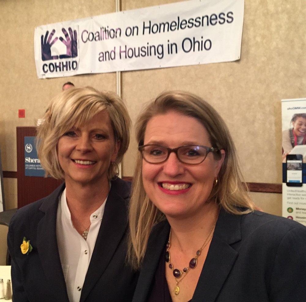 Homeport's Director of Philanthropy Julie Naporano, left, and Dr. Megan Sandel.