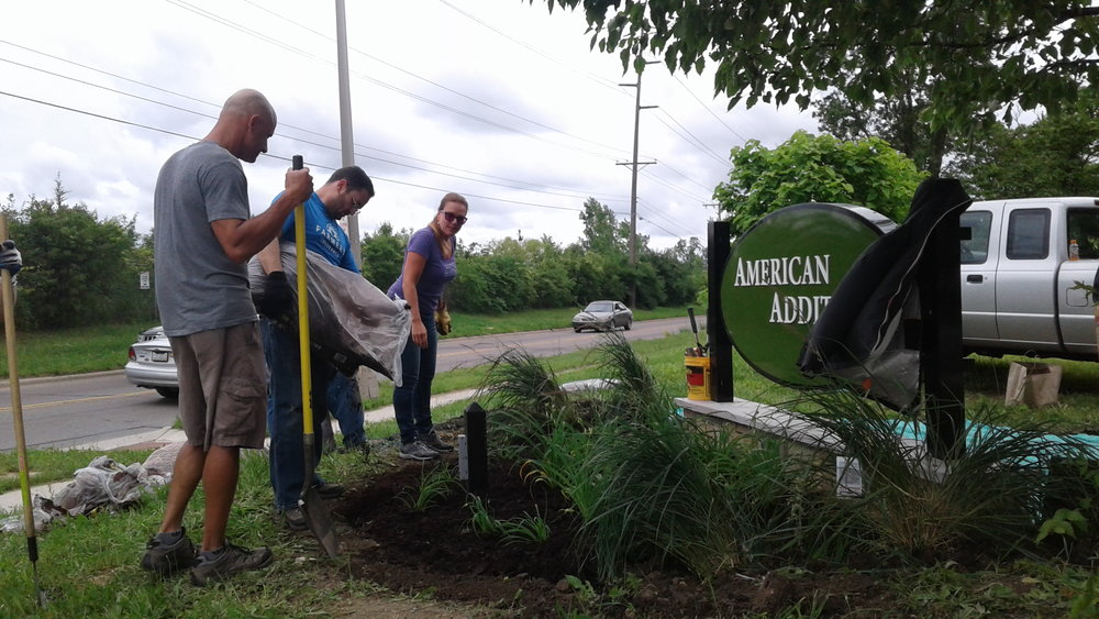 Business Development Representative Mark Chieffo of Ferguson Construction Company, Farmers Insurance Agent Jim Janosik and Executive Vice President Leslie Biskner of Cooperative Business Services were among the CCIIR members sprucing up American Addition.