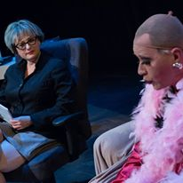 """Ruth, left, as """"Dr. Eve"""" in Evolution Theatre's """"Sordid Lives."""""""