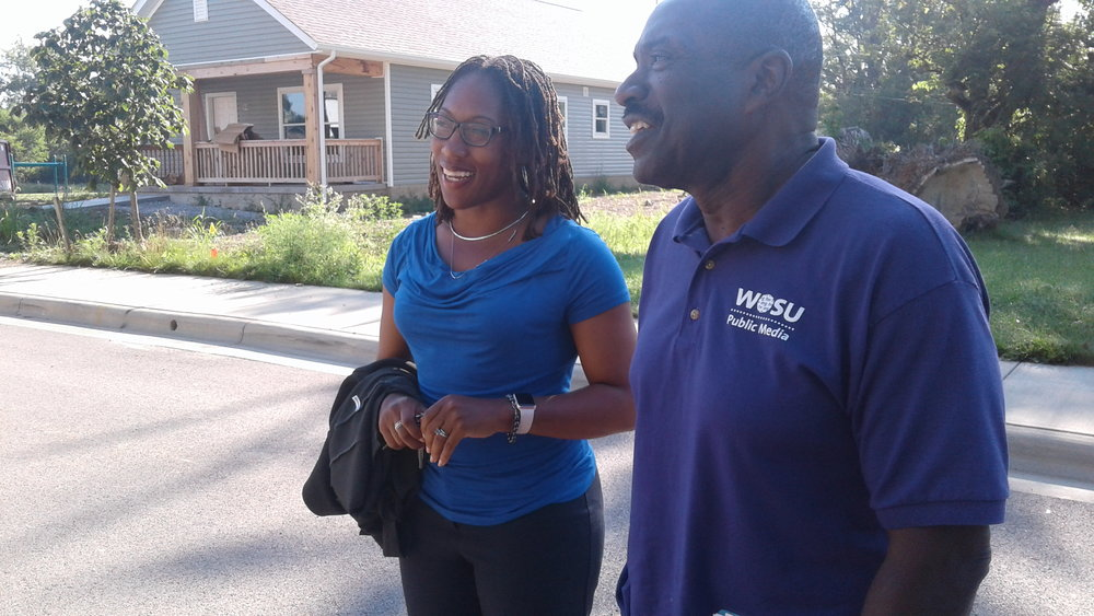 Homeport Vice President Leah Evans with WOSU Producer George Levert
