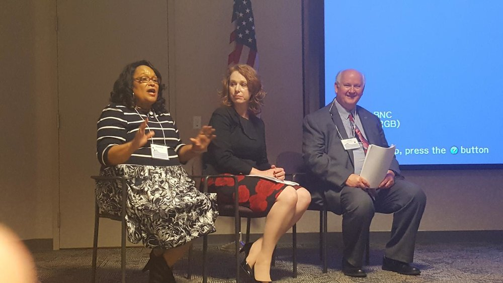 Homeport's Brenda Moncrief, left, Jennifer Heapy, CEO, Greater Dayton Premier Management, center, and Thomas Leach, Department of Housing and Urban Development Field Office Director for Ohio.