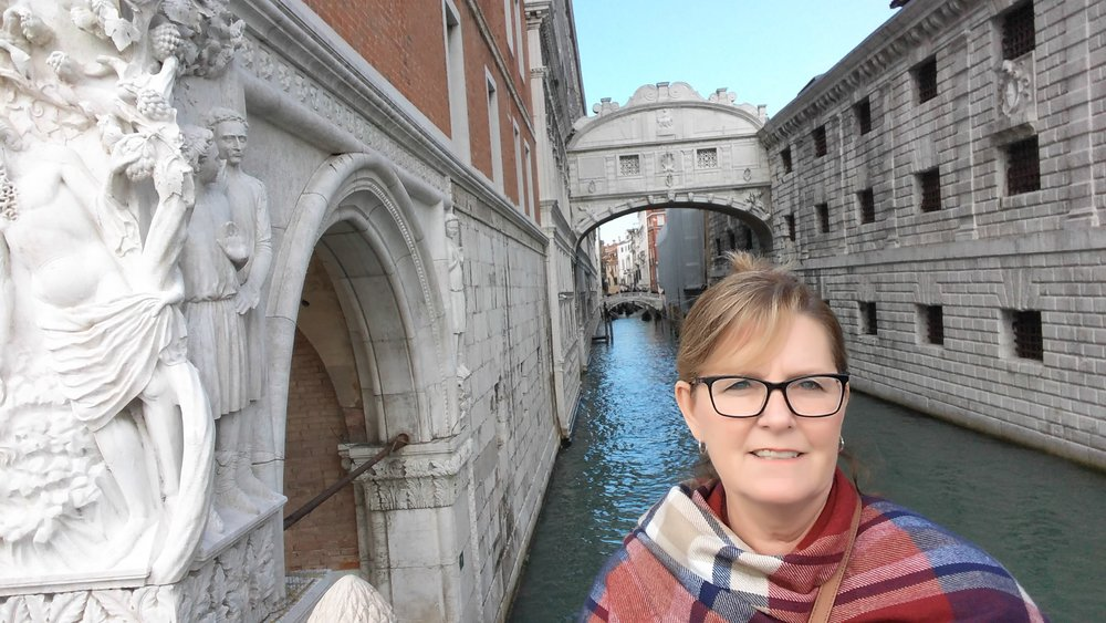 Sherri visiting Venice in 2017