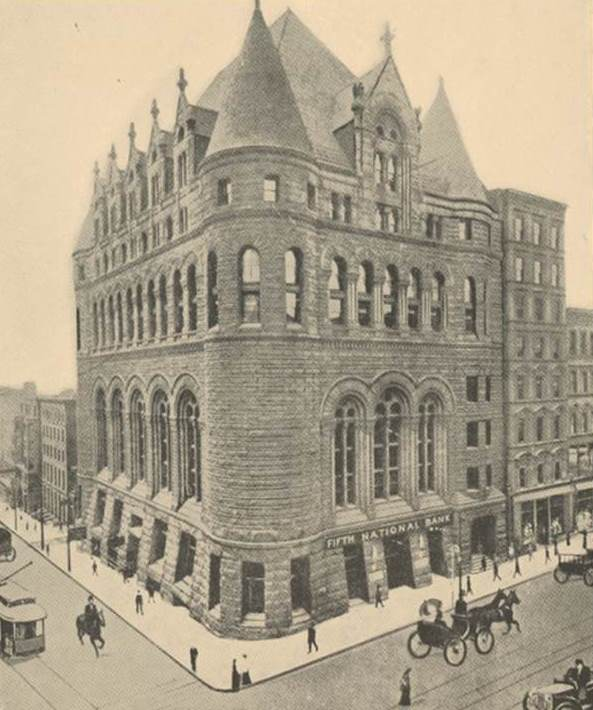 Fifth National Bank, pictured here in the old Chamber of Commerce building at Fourth and Vine Streets in Cincinnati was originally called Queen City National Bank. The name changed to Fifth National in 1888. Fifth National and Third National merged under the name The Fifth-Third National Bank of Cincinnati in 1908.
