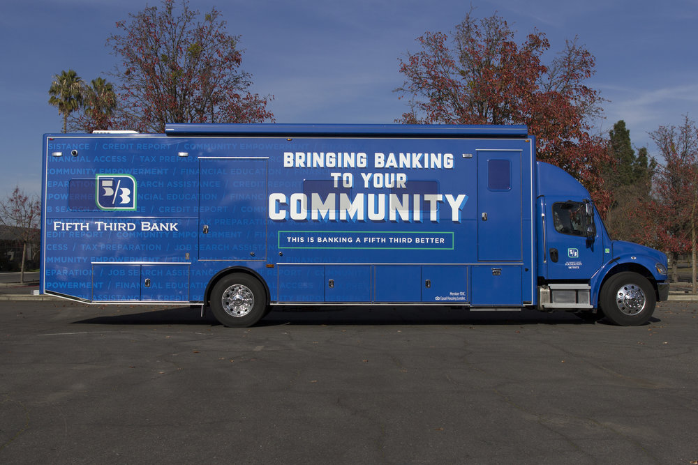 Fifth Third E-Bus travels to different communities to help educate and serve the community on financial matters.