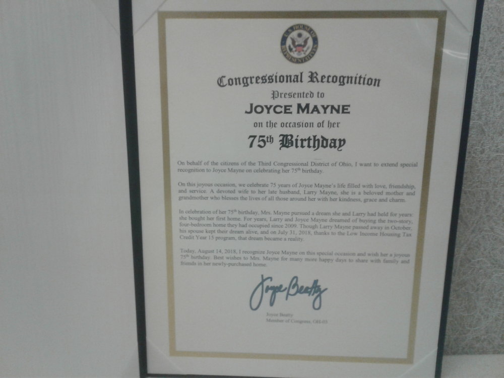 Congressional Recognition for Joyce Mayne.jpg