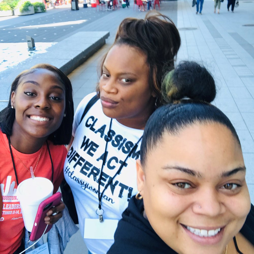 Homeport residents, left to right, Lakeisha Terry, Deja Lindsey and LaToya Penick, outside the convention hotel in Houston where community leadership courses were offered.