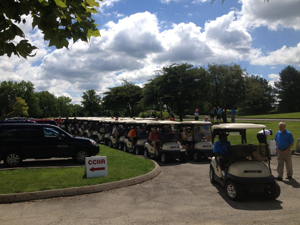 CCIIR Golf Outing participants line up before heading out to hit the links