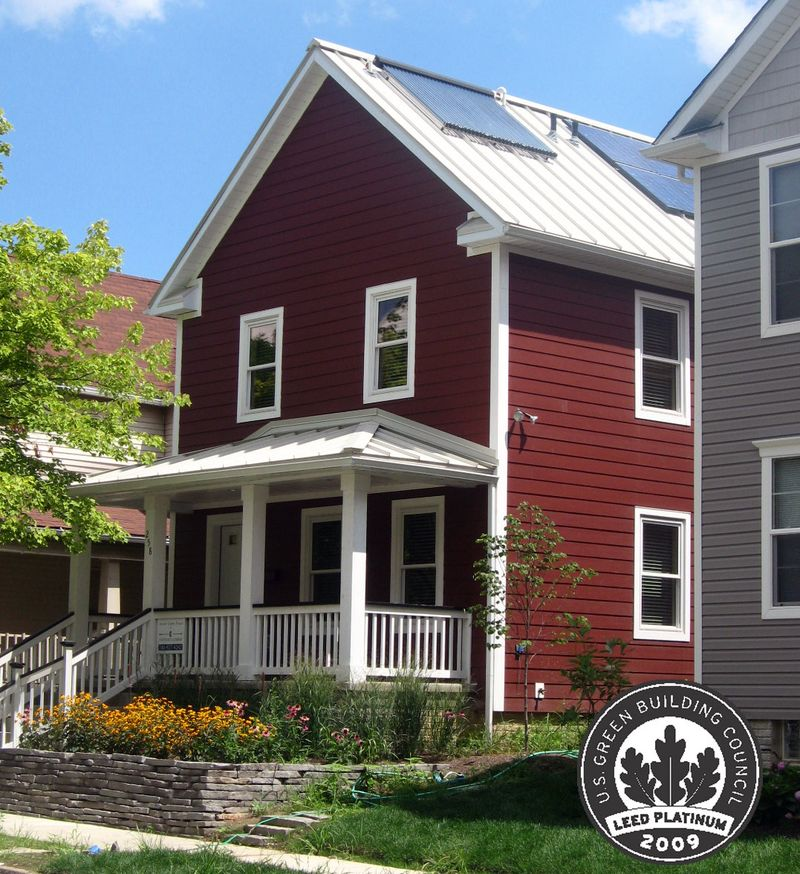 Solar panels on Homeport's certified LEED Platinum home, the first of its kind in the Midwest