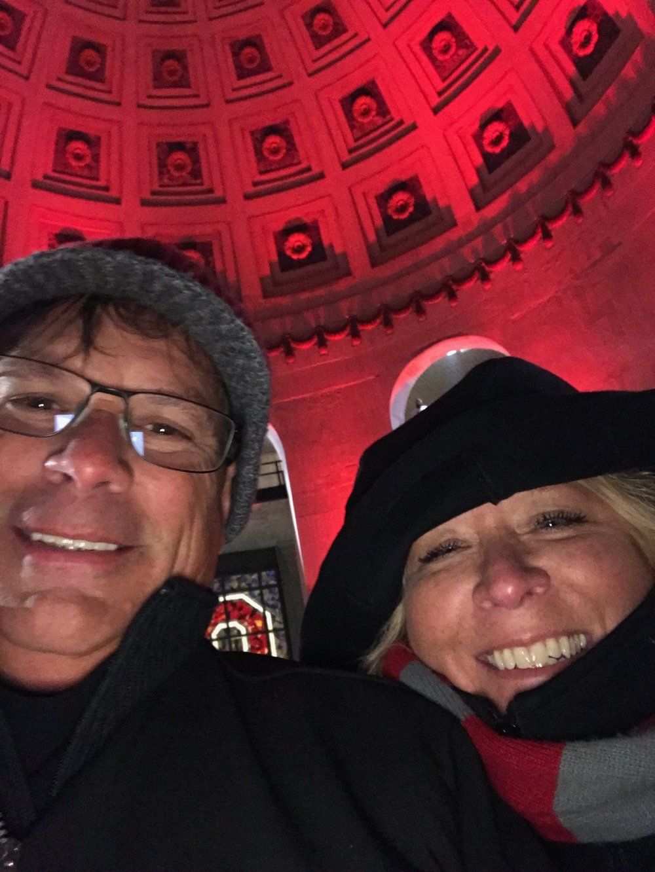 Lisa Roberson at Ohio Stadium with husband Tim.