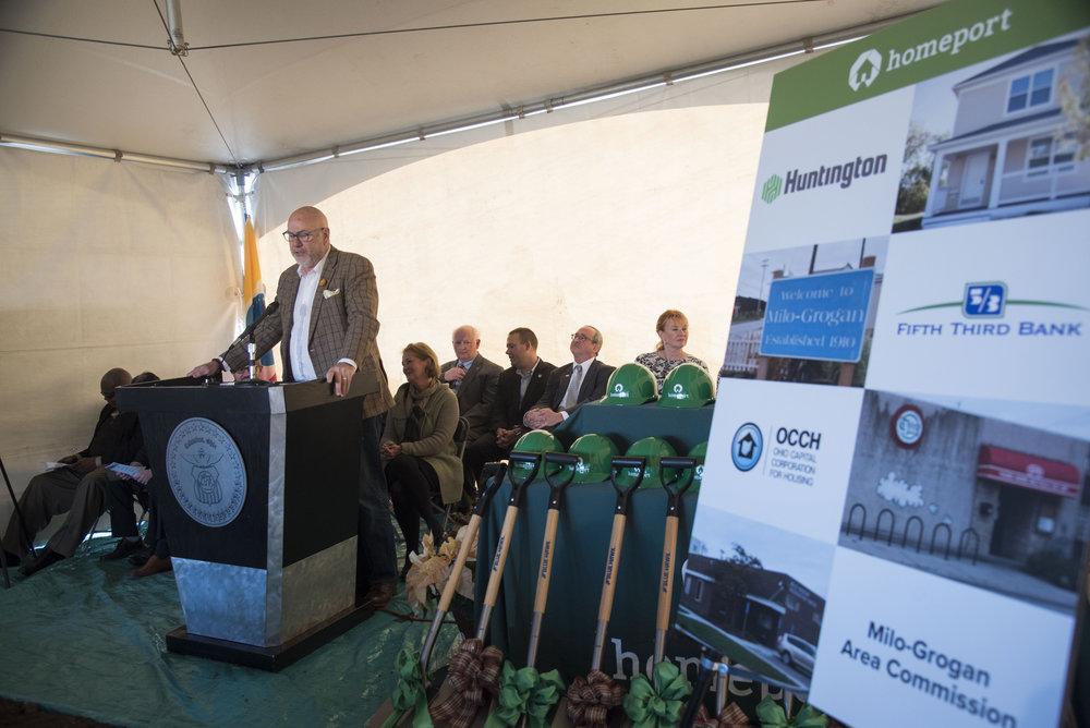 Steven D. Gladman, President, Affordable Housing Trust for Columbus and Franklin County, speaks at Milo-Grogan groundbreaking event in October 2017.