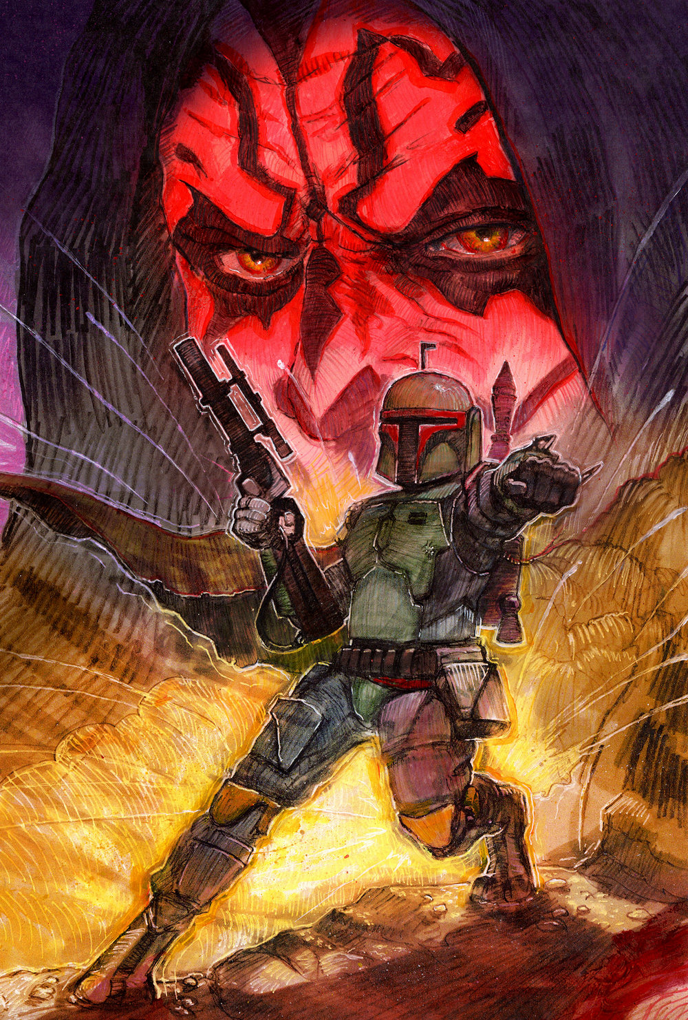 Maul and Fett - Fan Art - 2018