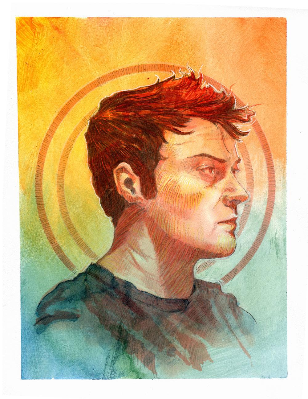 Self Portrait - 2018 - digital/pencil/acrylic/colored pencil on paper