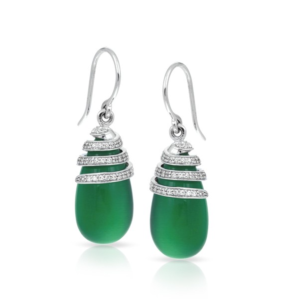 Eden Jade Earrings.  The luminous cat's eye stones of the Eden collection express a rich and bright look. With swirls of sterling silver graciously laced with glistening pave-set stones, this collection is inspired by the utopian gardens of Eden and is full of life and movement.