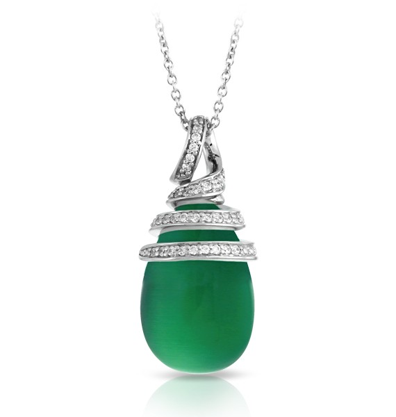 Eden Jade Pendant.  The luminous cat's eye stones of the Eden collection express a rich and bright look. With swirls of sterling silver graciously laced with glistening pave-set stones, this collection is inspired by the utopian gardens of Eden and is full of life and movement.