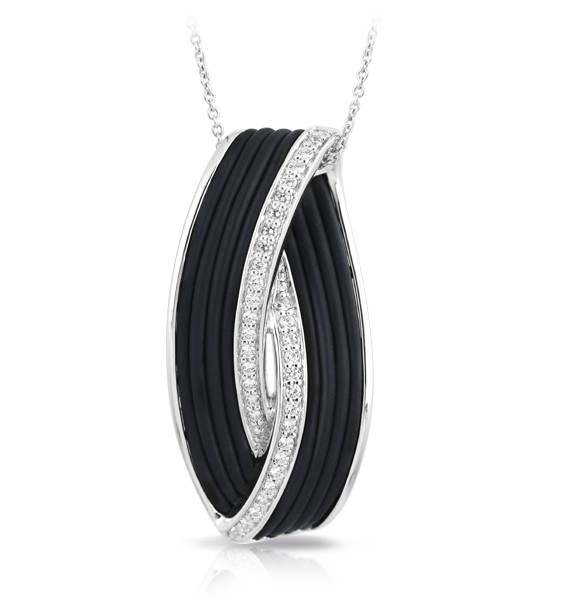 Eterno Black Pendant.  Hand-strung black Italian rubber with white stones set into rhodium-plated, nickel allergy-free, 925 sterling silver.