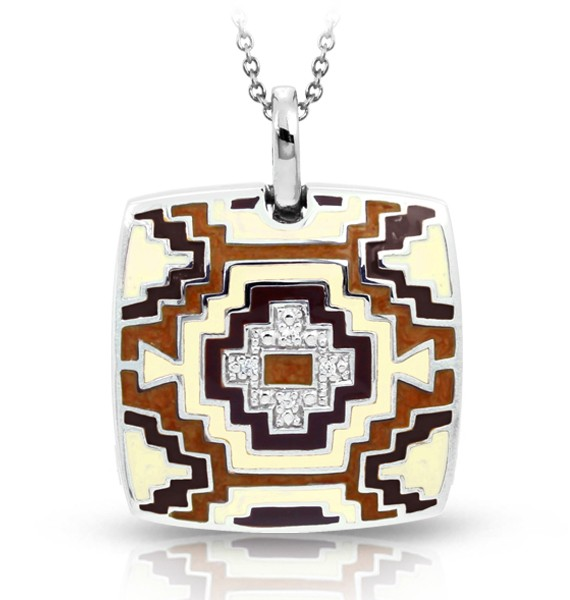 Aztec Brown & Cream Pendant.