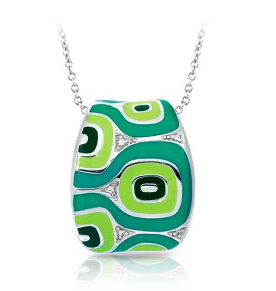 Moda Green Pendant.  The avant-garde Moda  brings back the groove with unique dimension and contrast on the finest sterling silver and hand-painted Italian enamel. Find pavé-set stones nestled within these exuberant shapes and lines.