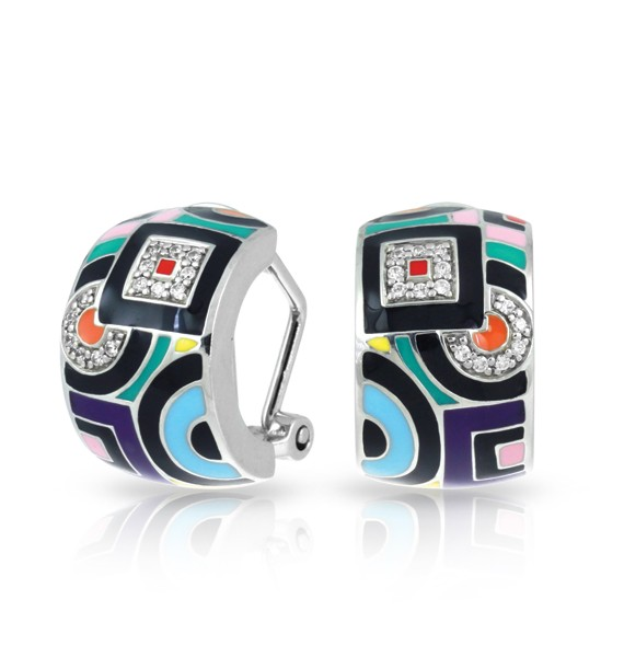 Geometrica Multicolor Earrings.  Find twinkling stones nestled within this unique and avant-garde design. Each piece of the Geometica Collection represents a wearable piece of classic cubism fine art.