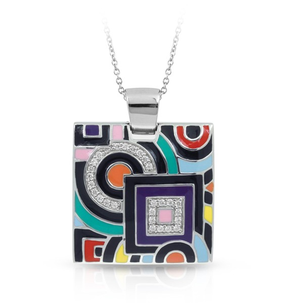 Geometrica Multicolored Pendant.  Find twinkling stones nestled within this unique and avant-garde design. Each piece of the Geometica Collection represents a wearable piece of classic cubism fine art.