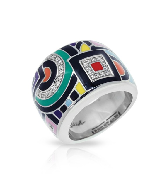 Geometrica Multicolored Ring.  Find twinkling stones nestled within this unique and avant-garde design. Each piece of the Geometica Collection represents a wearable piece of classic cubism fine art.