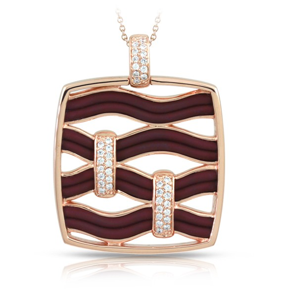 Riviera Brown & Rose Gold Pendant.  Riviera, Italian for 'coast', or 'coastline', represents the free organic movement of water in nature. Luxurious silver embellished with gorgeous strips of Italian rubber and pavé-set stones make this collection truly remarkable.