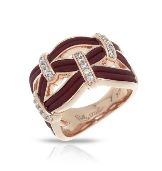 Riviera Brown & Rose Gold Ring.  Riviera, Italian for 'coast', or 'coastline', represents the free organic movement of water in nature. Luxurious silver embellished with gorgeous strips of Italian rubber and pavé-set stones make this collection truly remarkable.