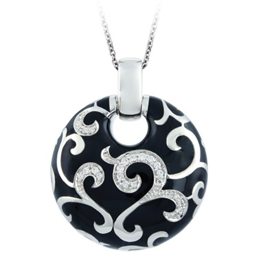 Royale Black Pendant.  Exquisite enameling, sumptuous sterling silver, and magnificent bezel-set stones signify status and unparalleled class. This truly timeless collection is one of Belle Etoile's all-time favorites.