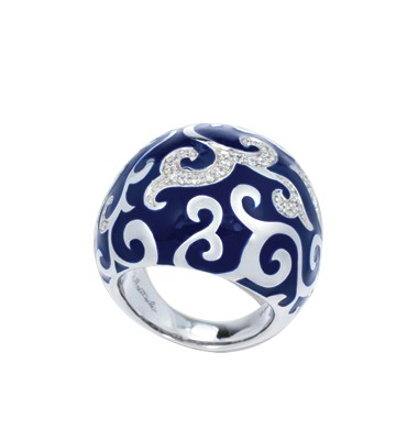Royale Blue Ring.  Exquisite enameling, sumptuous sterling silver, and magnificent bezel-set stones signify status and unparalleled class. This truly timeless collection is one of Belle Etoile's all-time favorites.