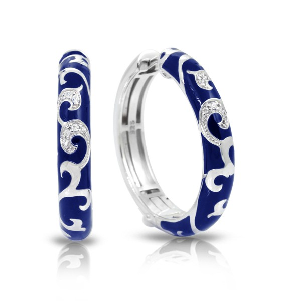 Royale Blue Earrings.  Exquisite enameling, sumptuous sterling silver, and magnificent bezel-set stones signify status and unparalleled class. This truly timeless collection is one of Belle Etoile's all-time favorites.