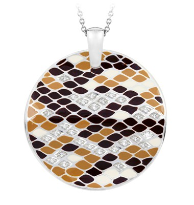 Snakeskin Desert Pendant.  Hand-painted desert-colored Italian enamels with white stones set into rhodium-plated, nickel allergy-free, 925 sterling silver.