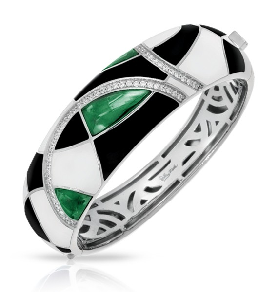 Tango Emerald Bangle.  Interlacing lines of sparkling pavé-set stones and sterling silver dance harmoniously in Tango, creating abstract shapes, colors and patterns. 1st Place, Best Silver Jewelry Design,  $501-$1000 category - 2014 JCK Jewelers' Choice Awards