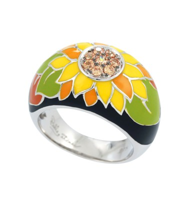 Sunflower Black Ring.  Hand-painted black and fall-colored Italian enamels with champagne stones set into rhodium-plated, nickel allergy-free, 925 sterling silver.