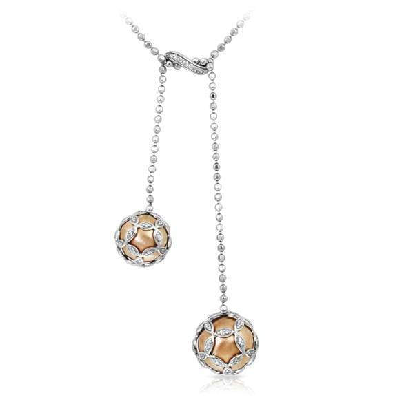 Vienna Rose gold Necklace.  Rose gold and sterling silver are exquisitely paired with Vienna. Featuring luxuriously bejeweled orbs, Vienna is a perfect fusion of European elegance with a modern twist.