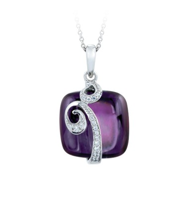 Vigne Amethyst Pendant.  Graceful curves of sterling silver vines shelter pristine dewdrops on colorful blossoms of the finest colored stones, capturing hues from the first dawn light.