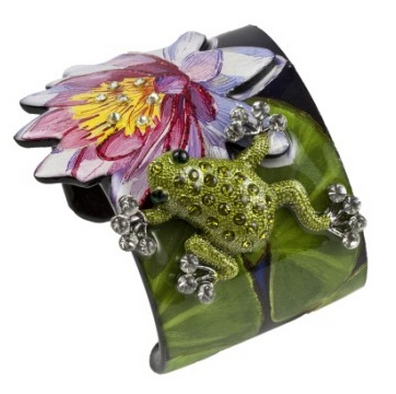 Cuff Wide - Frog.  Hand silk screened, embellished with diamond dust and glitter and encapsulated in Jewelry grade acrylic. Adorned with Swarovski crystals.