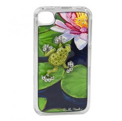 iPhone Cover - Frog Luxury Edition.  Two piece, snap on iPhone cover. Hand silk screened, embellished with diamond dust and glitter, encapsulated in Jewelry grade acrylic, adorned with Swarovski crystals.