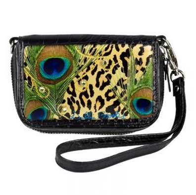 Wrist Bag Cell Phone Holder - Leopard.  Hand Silk screened Artwork, embellished with diamond dust and glitter, encapsulated in Jewelry grade acrylic. Adorned with Swarovski crystals.